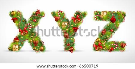 XYZ, vector christmas tree font - stock vector