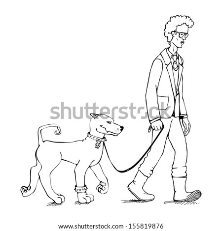 y and dog walking - stock vector