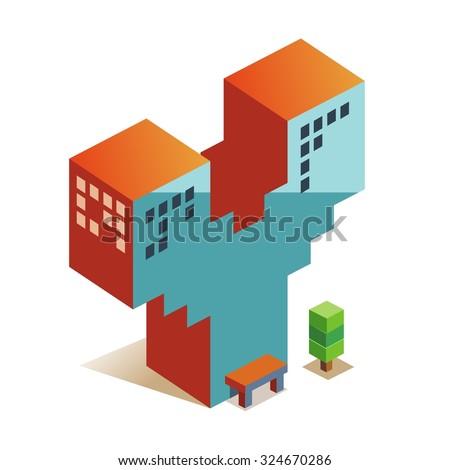 Y latin alphabet letter in skyscraper shape - stock vector