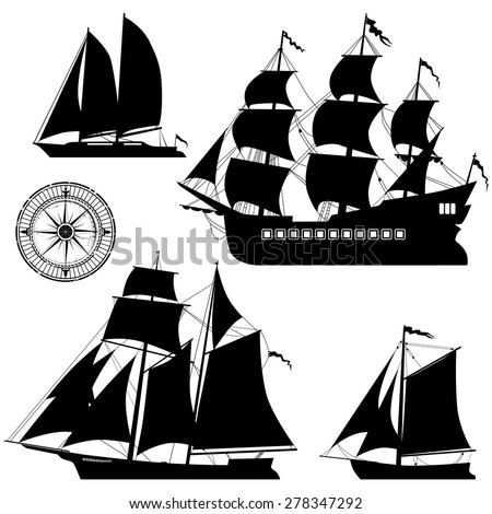 Yacht and old pirate ships - vector set - stock vector