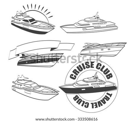 yacht, boat, ship logo design elements - stock vector