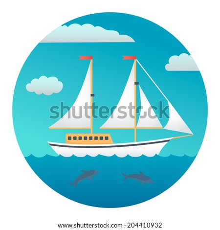 Yacht on a Background of Blue Sky and Sea - Circle Detailed Illustration with Gradients Isolated on White