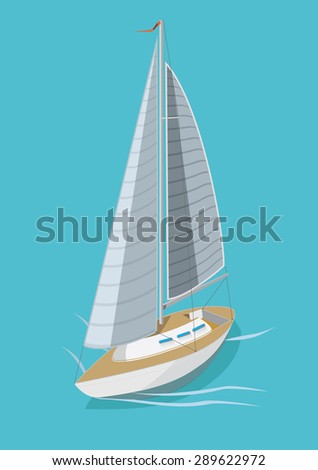 Yacht on blue background. Vector Illustration.