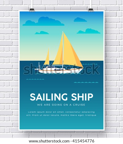 Yacht on water icon poster on brick wall - stock vector
