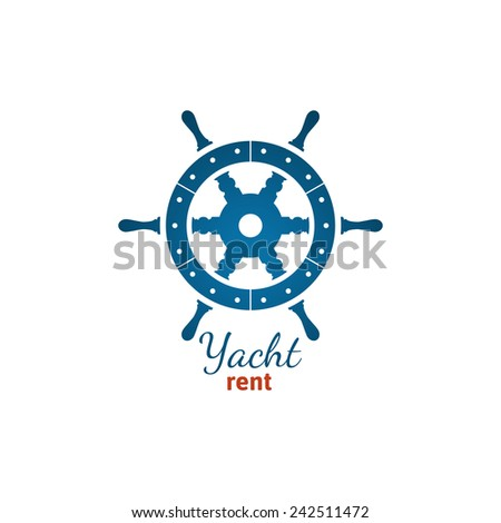 Yacht rent logo template with steering wheel on white background - stock vector