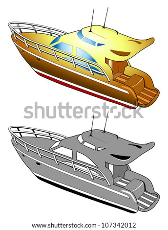 Yacht, speed boat, vector illustration - stock vector