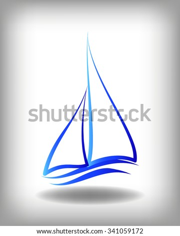 Yacht vector logo templates. Yachts silhouettes. Vector line yachts icon,  vector illustration. Yachting and regatta symbols - stock vector