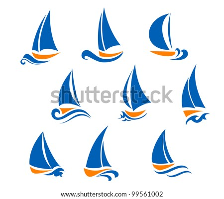 Yachting and regatta symbols for yacht sports design. Jpeg version also available in gallery - stock vector