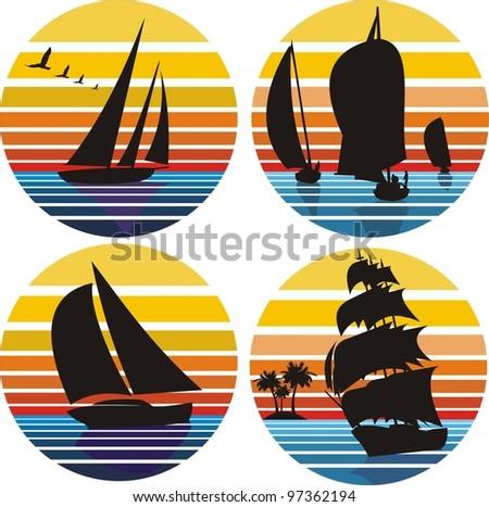 yachting, sailing, regatta - stock vector