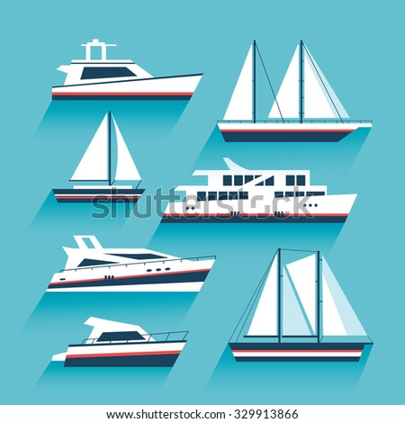 Yachting. Set of yachts and maritime transport. Ship cruise yacht icon set in modern flat style. Yacht icons. Boat and ship icons set. Vector design illustration - stock vector