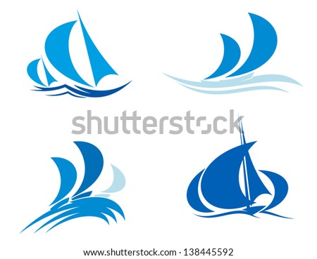 Yachts and boats on regatta for yachting sport design or logo template. Jpeg (bitmap) version also available in gallery - stock vector
