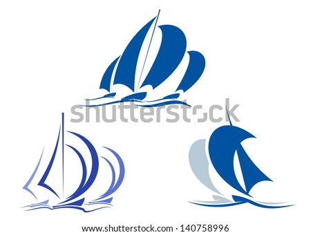 Yachts and sailboats symbols for yachting sport design or idea of logo. Jpeg (bitmap) version also available in gallery - stock vector