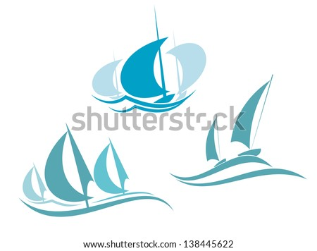 Yachts and sailboats symbols for yachting sport design or logo template. Jpeg (bitmap) version also available in gallery - stock vector