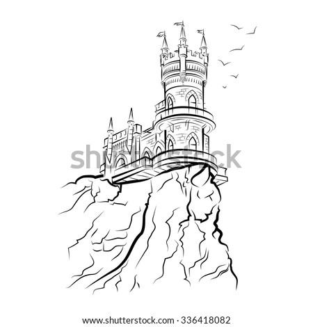 Yalta Swallow Nest. Drawing vector illustration - stock vector