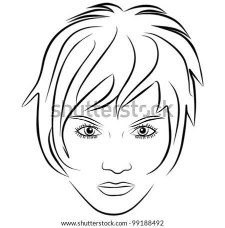 yang woman face, short hair - freehand on a white background, vector - stock vector