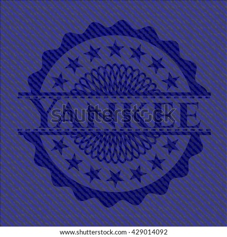 Yankee badge with denim texture - stock vector