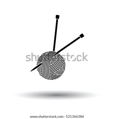 Yarn ball with knitting needles icon. White background with shadow design. Vector illustration.