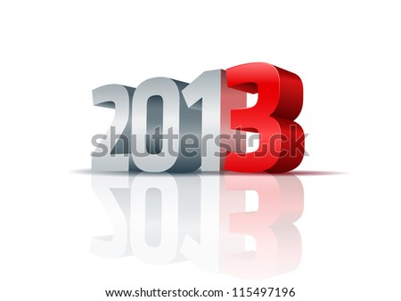 Year 2013.  All elements are layered separately. Easy editable. - stock vector