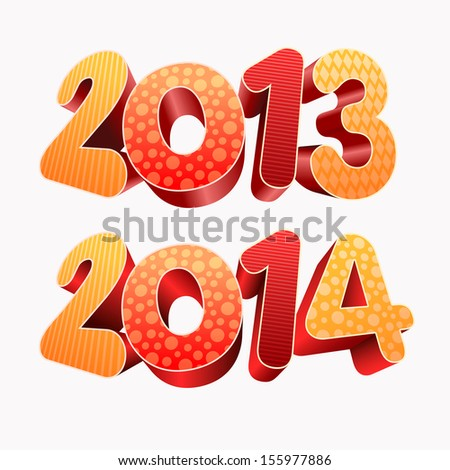 Year 2013 and 2014  All elements are layered separately in vector file. Easy editable. - stock vector