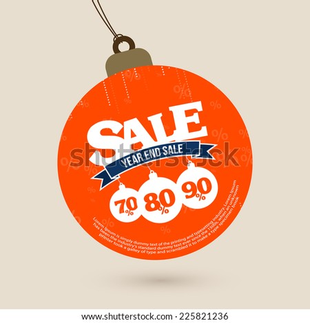 Year End Sale tag with Christmas balls - stock vector
