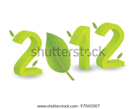 Year 2012 in 3D with leaves - stock vector