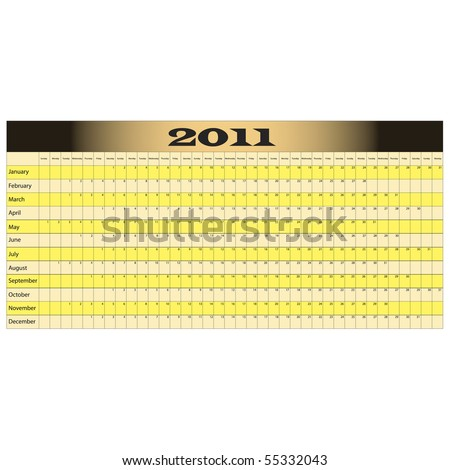 Year Long Calendar for 2011 with space for notes - stock vector