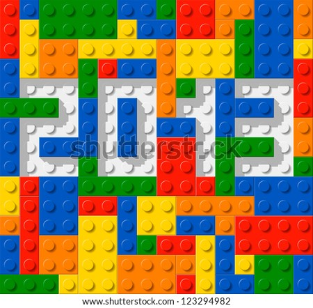 Year 2013 made from plastic construction blocks - stock vector