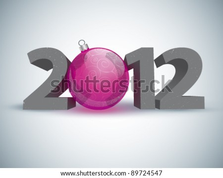 Year 2012 made up of numbers and Christmas ball as zero - stock vector