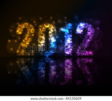 Year 2012 made with lights in dark - stock vector