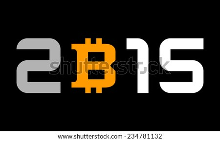 year 2015 - numbers with bitcoin currency symbol - stock vector