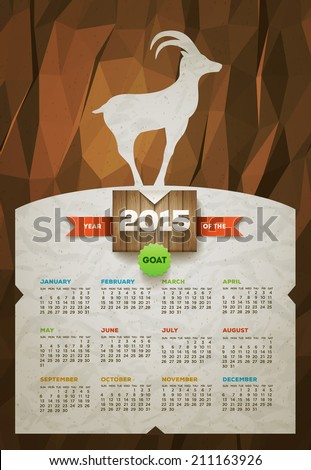 Year of the Goat 2015 calendar. Vector design template. Elements are layered separately. - stock vector