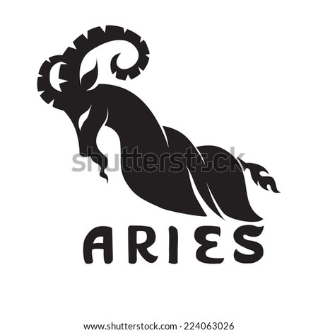 Year of the Goat. Illustration of Black goat silhouette on white background. - stock vector