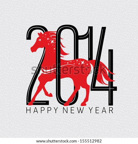 Year of the horse card vector illustration - stock vector