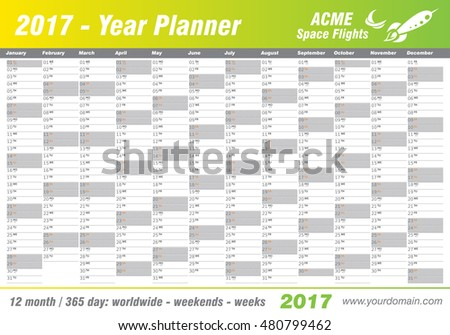 Year Planner Calendar 2017 - International worldwide printable organizer planner scheduler - with dates, days of the month - space for personal notes. Week starts Monday. Yellow, green, lemon vector.