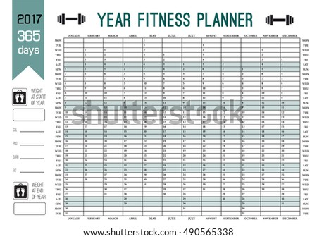 Plan out your whole fitness year with this calendar. Vector