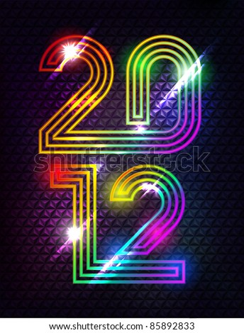 Year 2012 With Lights And Stars In Dark - stock vector