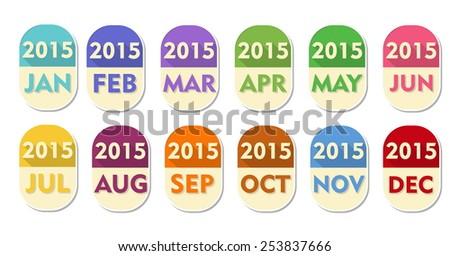 year 2015 with twelve months, elliptic flat design labels, calendar concept elements, vector - stock vector