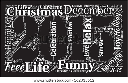 Year 2015 word cloud with happy terms.  - stock vector