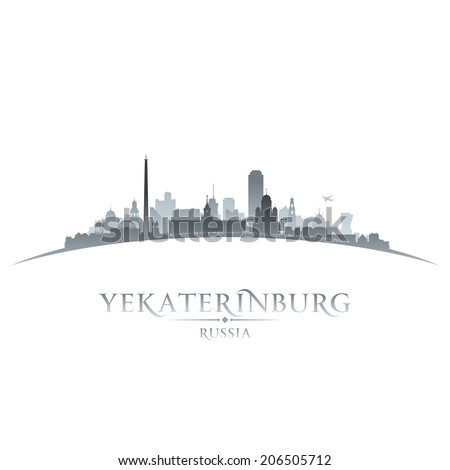 Yekaterinburg Russia city skyline silhouette. Vector illustration