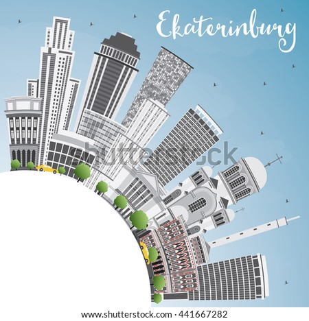Yekaterinburg Skyline with Gray Buildings and Copy Space. Vector Illustration. Business Travel and Tourism Concept with Modern Buildings. Image for Presentation Banner Placard and Web Site.