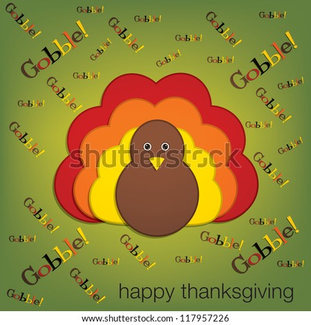 Yelling turkey Thanksgiving card in vector format. - stock vector