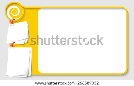 Yellow abstract frame for your text with spiral and  papers for remark - stock vector