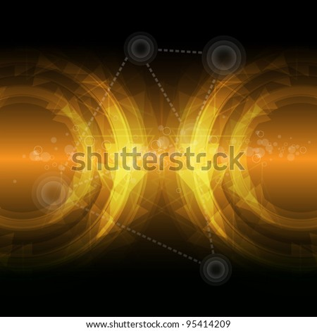 yellow abstract future technology background vector