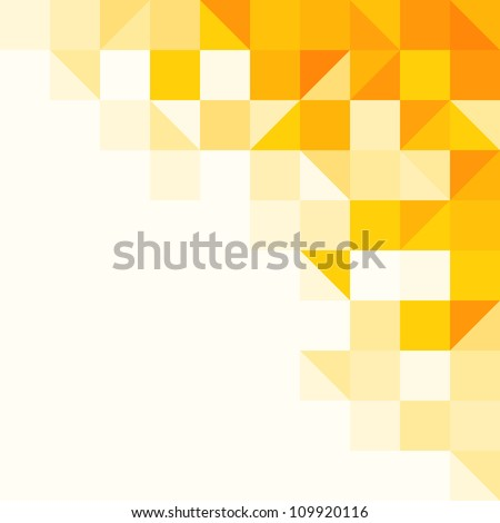 Yellow Abstract Pattern - Triangle and Square pattern in yellow and orange colors - stock vector