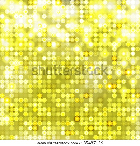 Yellow  abstract sparkling disco background with circles - stock vector
