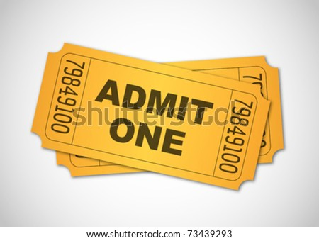 Yellow admit one tickets - stock vector