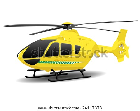 Yellow Air Ambulance Illustration over White - stock vector