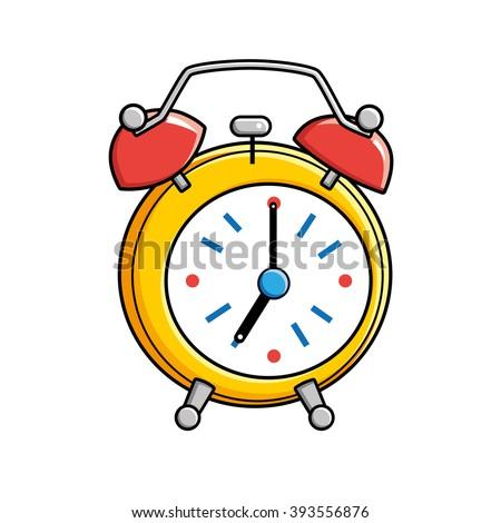 Yellow alarm clock. - stock vector