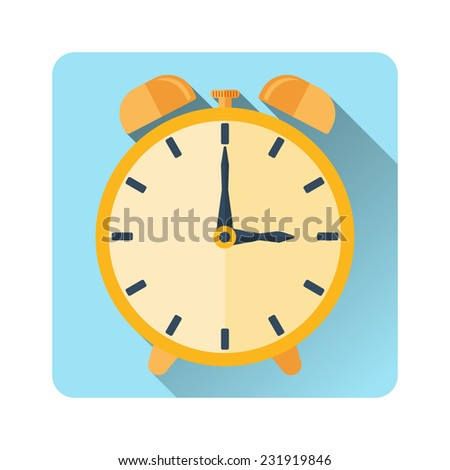 yellow alarm clock. Made in flat design - stock vector