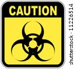yellow and black biohazard warning sign - vector - stock vector
